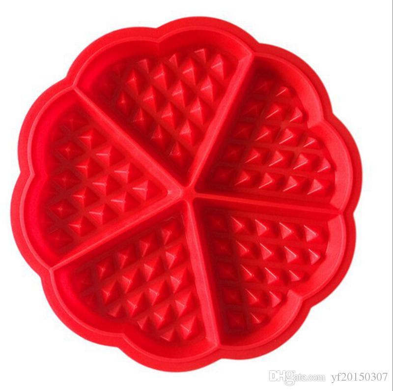 Molde de la torta de la forma del corazón Molde de la galleta del mollete de la silicona creativa Herramientas de la panadería Herramientas de la hornada de la hornada Molde del silicón