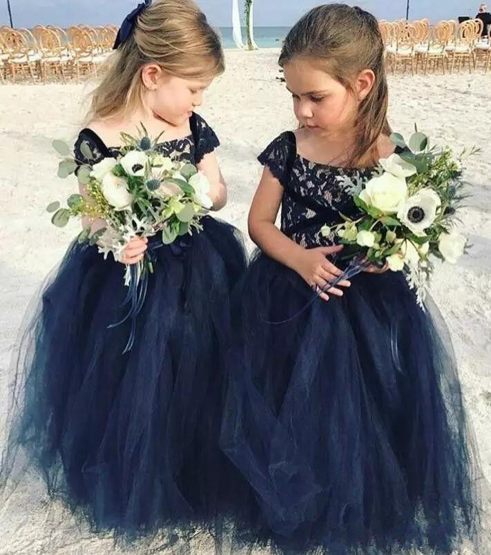 Navy Blue Lace 2018 Lovely Flower Girl Dresses