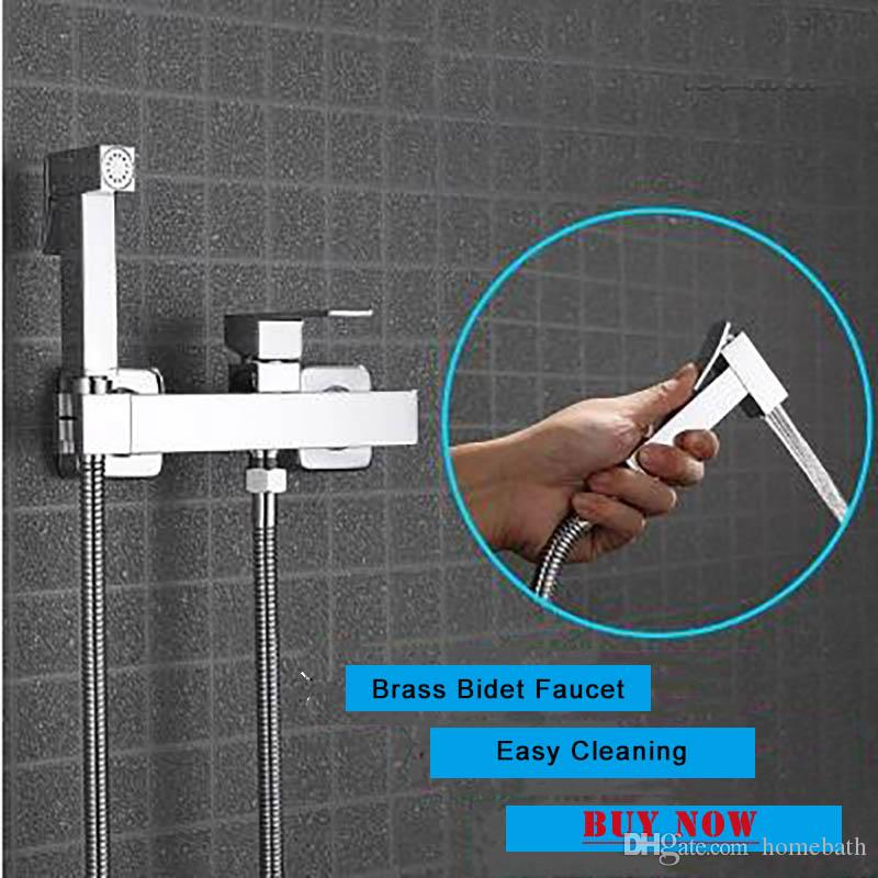 New Arrival Toilet Shower Bidet Faucet Brass Chrome Hot And Cold Armatur Wall Mounted Spray Shattaf Cleaning Shower
