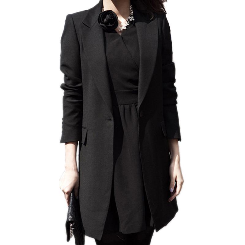 Gros-Printemps Femmes Slim Blazer Manteau 2017 Nouveau Noir Mode Casual Veste À Manches Longues Un Bouton Costume Dames Blazers Travail De Bureau