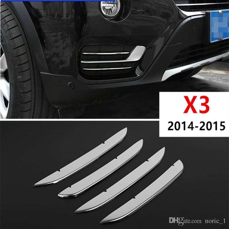 Avant Styling en acier inoxydable Phares antibrouillard Garniture décorative bande pour BMW X3 2014-15 Accessoires voiture Sequin Sticker