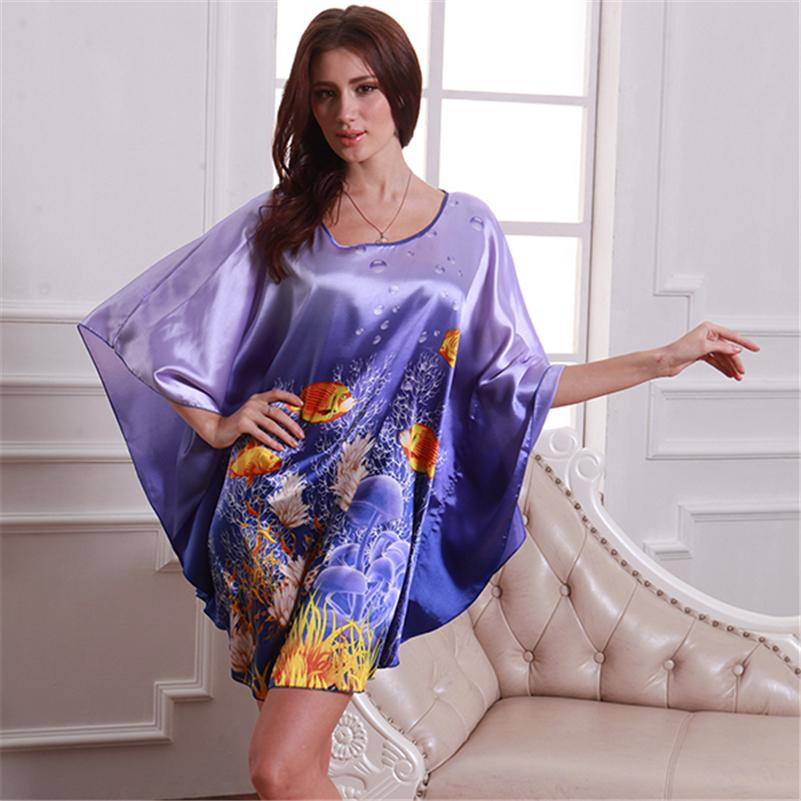Women Pattern Bat Shirt Sleepwear Nightgown Nightdress Silk Blend Robes Nightwear Q21