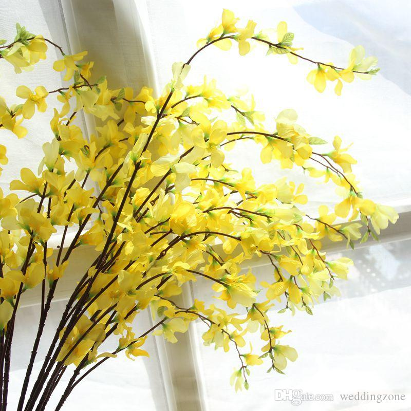 European Rural style Yellow silk Dancing Lady Orchid 104CM Artificial flowers Floor flower Wedding/House decoration