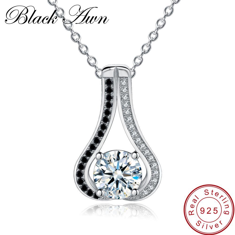 [BLACK AWN] أصيلة 925 فضة قلادة للنساء القرع القلائد المعلقات الأسود الإسبنيل فضة مجوهرات P048