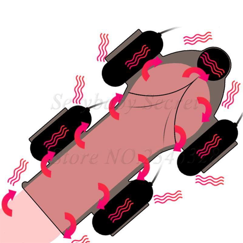 Мощные 5 Двигателей 12 Скоростей Мужской Мастурбатор Головки Пуля Вибраторы Задержка Прочного Тренер Пенис Массажер Для Взрослых Секс-Игрушки Для Мужчин S18101003