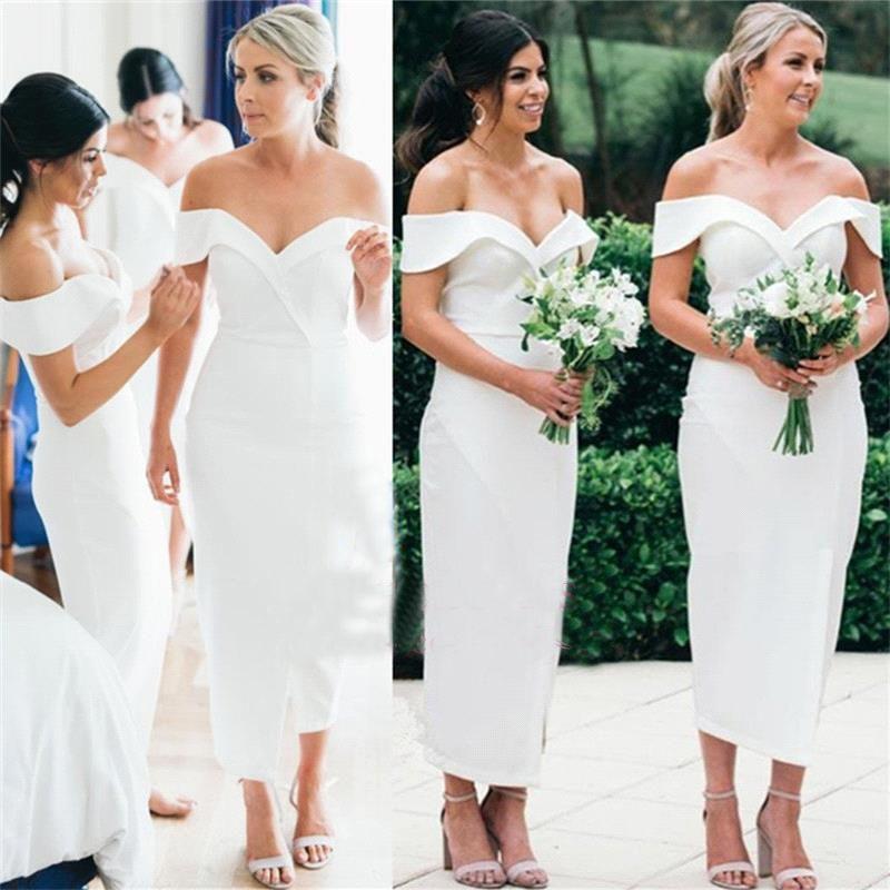 2018 enkla vita satinskede brudtärna klänningar sexig av axelteslängden Maid of Honor Gown Wedding Guest Dress Plus Size BC0180