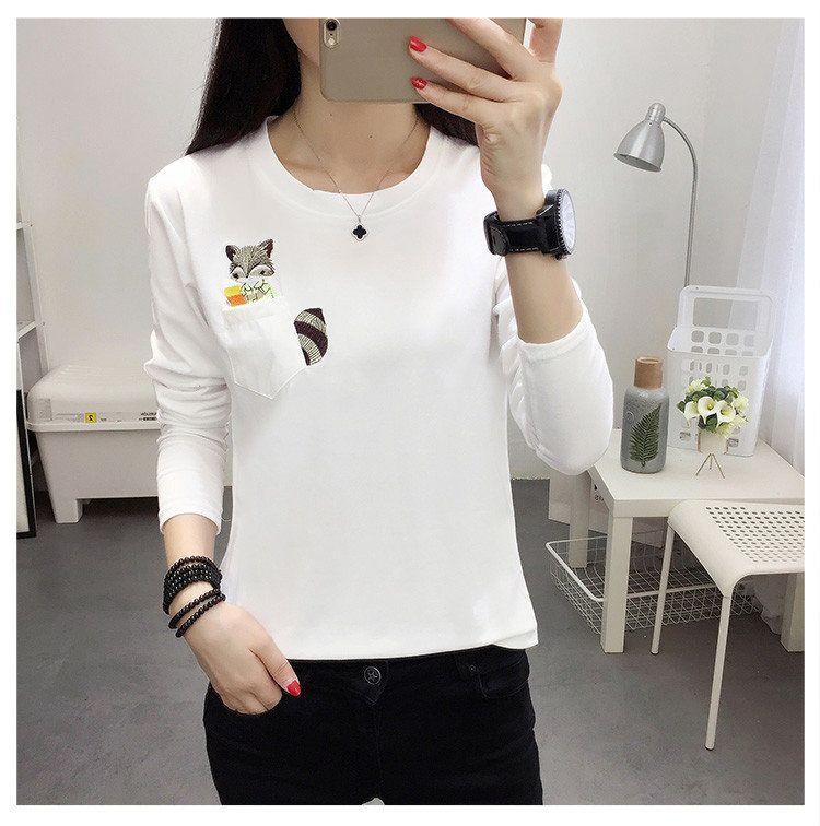 Embroidery T-shirts Women Tshirt O-neck Long Sleeve T-shirts Women Autumn Tops Tee Shirt Femme 2019 Cotton Camisetas Large Size (14)