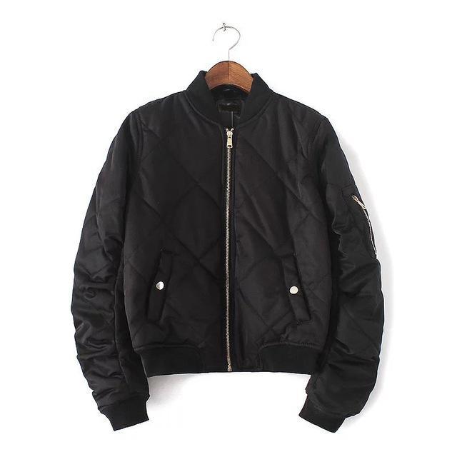 Quilting Bomber Jacket Femme Manteau Printemps Zipper Short Basique Manteau D'Hiver À Manches Longues Slim Coton Rembourré Rose Extérieure