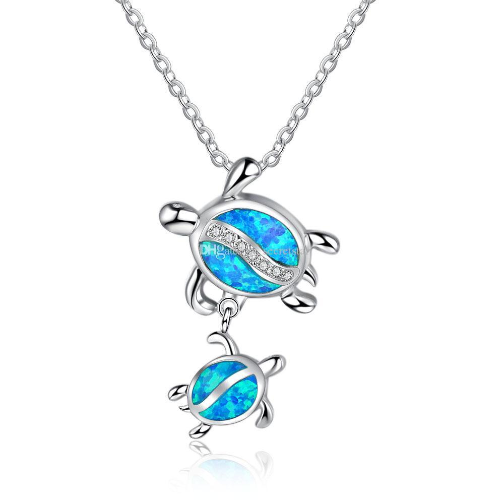 De calidad superior de la manera popular plata de ley 925 con el collar pendiente de la tortuga de Opal simulado (Con 45CM cadena) # NE102111