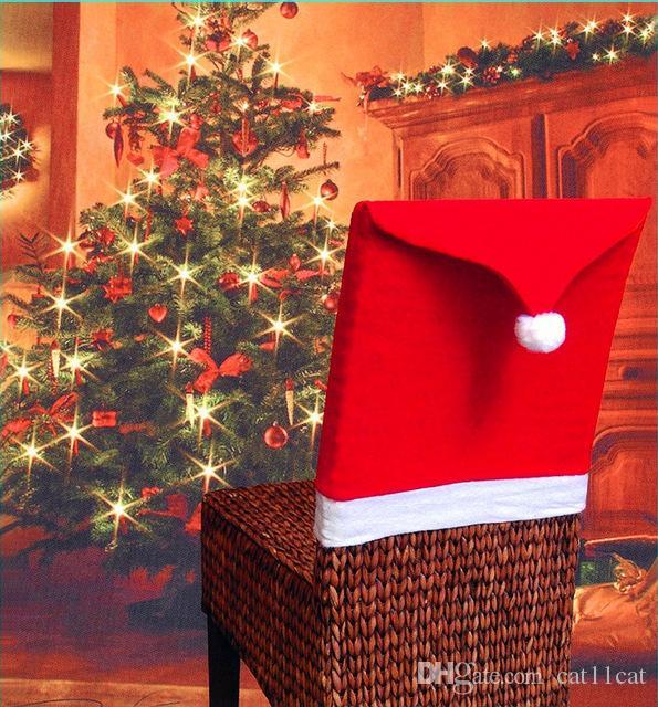 عيد الميلاد كرسي الغطاء الخلفي سانتا كلوز القبعات الحمراء الديكور لكرسي الطعام لتناول الطعام زينة عيد الميلاد