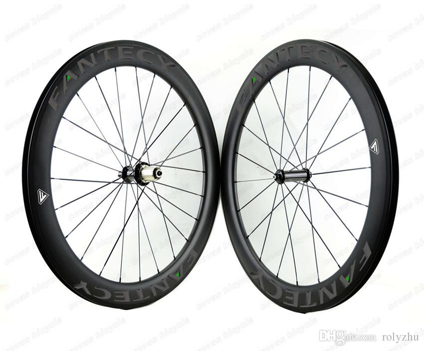 Компании fantec!Горячие продажи 700C 60 мм глубина дорожный велосипед полный углерода колеса 25 мм ширина Clincher/трубчатые дорожный велосипед углерода колесная с прямой тянуть концентратор