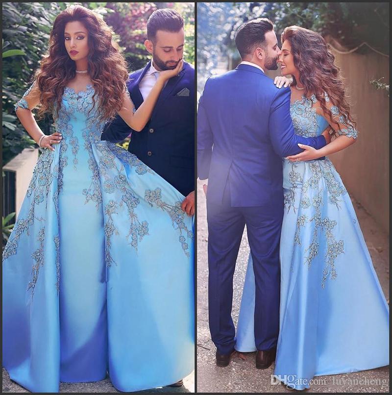 Arapça Seksi Scoop Sheer Boyun Çizgisi Mavi Akşam Gelinlik Modelleri Aplikler Boncuklu Dubai Abiye giyim Yarım Kollu Saten Örgün Balo Parti Elbise