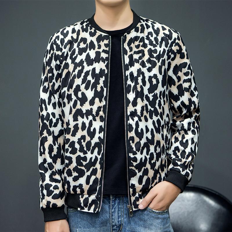 Factory Direct Bomber Jacket Men Autumn New Fashion Leopard Print Mens Casual Jackets Slim Fit Long Sleeve Windbreaker Coat Male