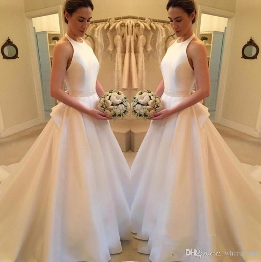 Proste Tanie Suknie ślubne 2019 New Fashion Satin A Line Halter Backless Suknia Ślubna Sexy Country Suknie ślubne