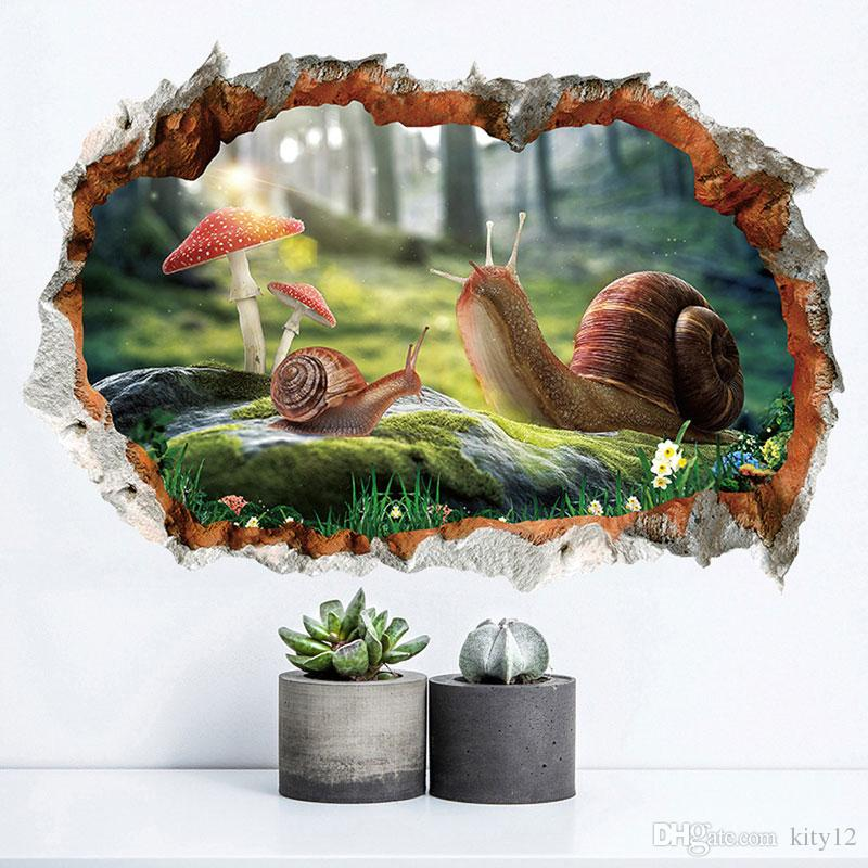 3D Snail fake window broken Wall Stickers for kids rooms baby bedroom decals animals murals DIY home decor free shipping