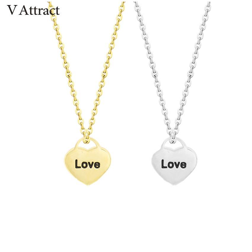 Atacado 10 pcs amante Jewerly Aço Inoxidável carta de amor colar para mulheres de prata de ouro Kettingen coração Collier Femme Bff presente