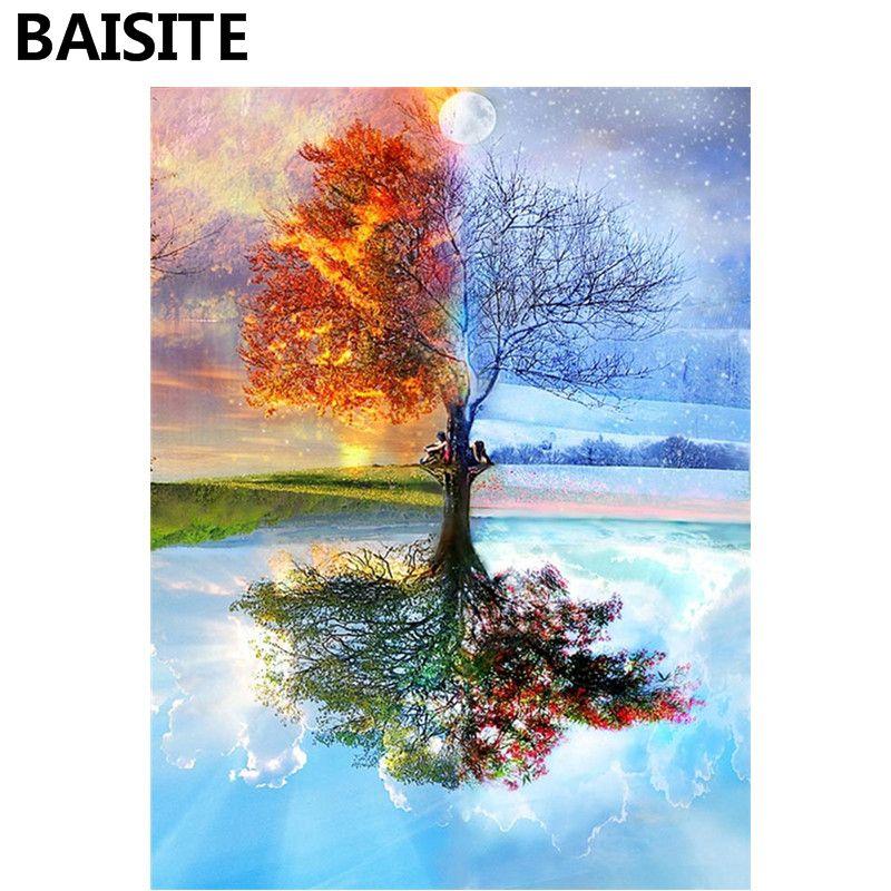 Baisite diy الاكريليك الطلاء بواسطة أرقام رسمت باليد قماش الحديثة جدار صور لغرفة المعيشة ديكور المنزل جدار الفن Y5282