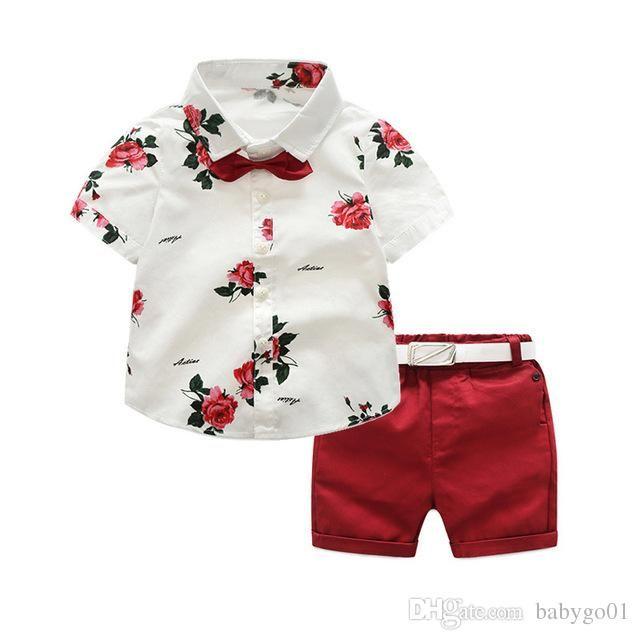 große Jungenkinder, die gesetzten Sommerherrklagen kleiden, schließen Hülsenhemdkurzschlußgurt 3pcs Kindkleidung-Kindkleidung für 2-7 Jahre Junge kurz