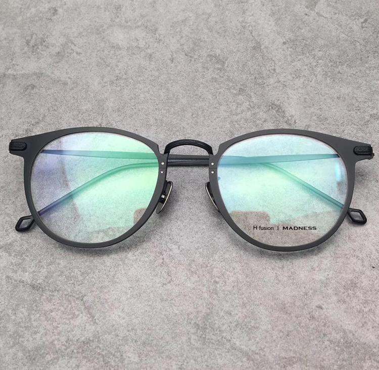 Gafas graduadas ópticas de la marca H. fusion de época Marco de marco redondo de titanio Gafas de gafas con caja de cuero