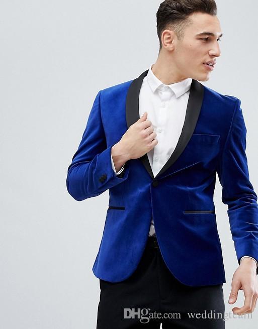 Royal Blue Velvet Męskie Garnitury Slim Fit One Button Plus Size Groomsmen Smokingi Ślubne dla mężczyzn Blazers Szal Lapel Prom Suit (Kurtka + Spodnie)