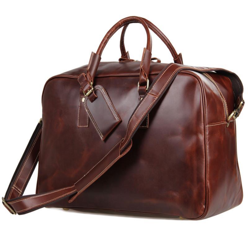 Nouveau sac de voyage cool Eternal Warp Style rétro Lisse Huile Section en cuir Grand sac à main Retour à la vente en gros
