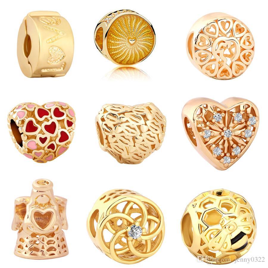 Free Shipping MOQ 20pcs gold hollow love angel love clip Bead Charm Fit Original Pandora Bracelet Jewelry DIY J015