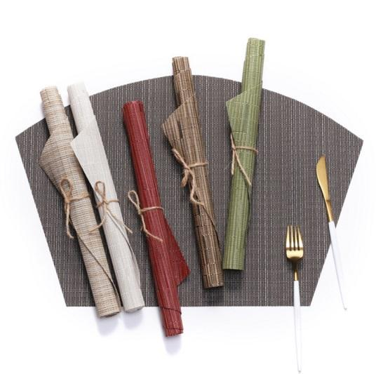 Round Table Placemats 70% PVC 30% Polyester Heat Resistant Table Mats Washable (Bamboo Tan)