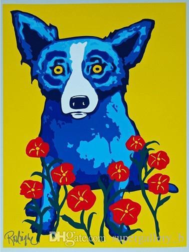 George Rodrigue Blue Dog primavera está aquí Mano Alta Calidad pintado impresión de HD pintura al óleo Decoración Arte de la pared en la lona a137