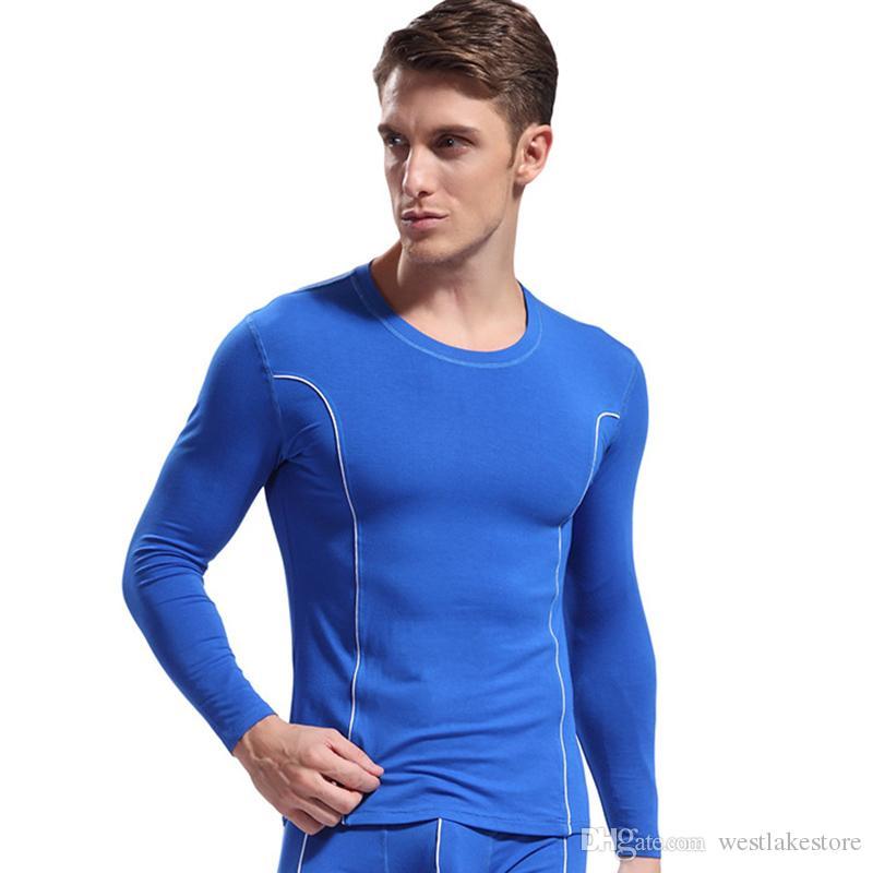 Одежда Мужская термобелье длинные Джонс мягкие модальные топы мужчины теплые пижамы зимняя мода майки топы только