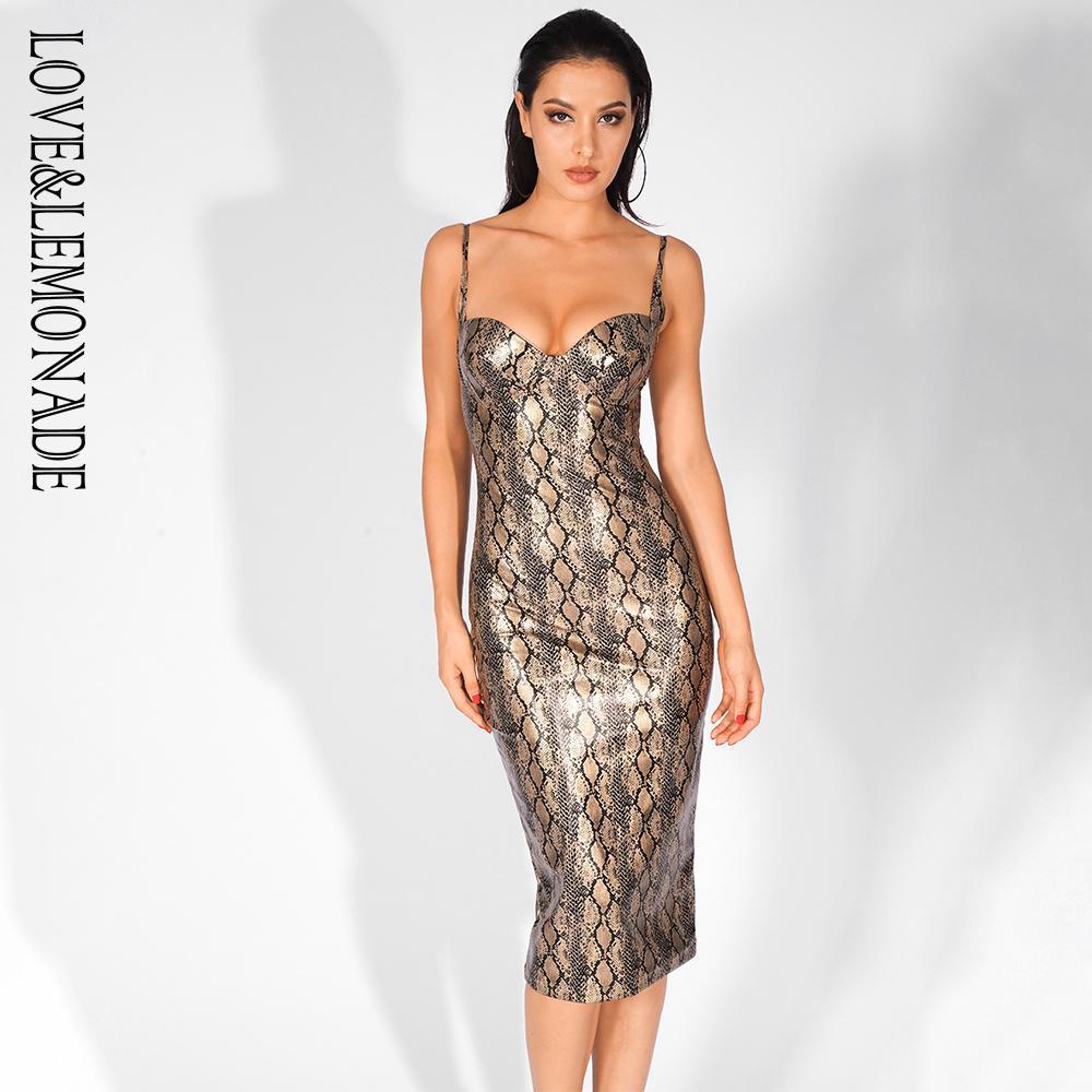 Großhandel LoveLemonade Sexy Trägerloses Gold Schlange Elastisches PU  Material Spaghetti Strap Kleid LM177 17GOLD Von Aidior177, 17,17 € Auf