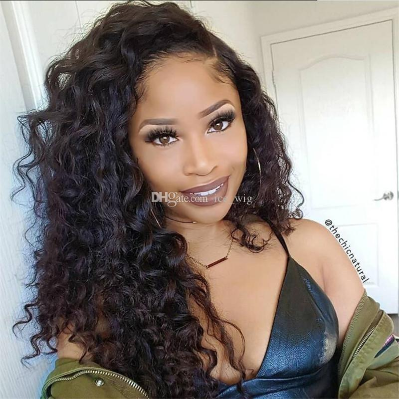 100% brazilian human hair wig natural curly lace front human wig with baby hair full lace wig for black woman