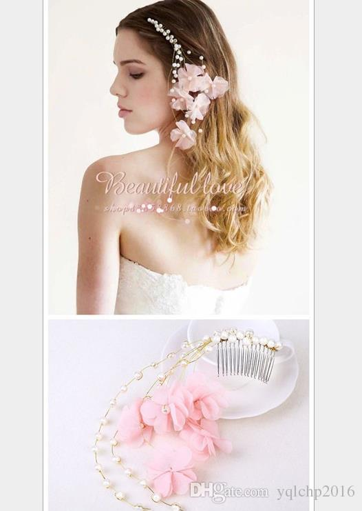 Bridal Wedding Crafts flower comb, pink pearl comb hair accessories, bride accessories