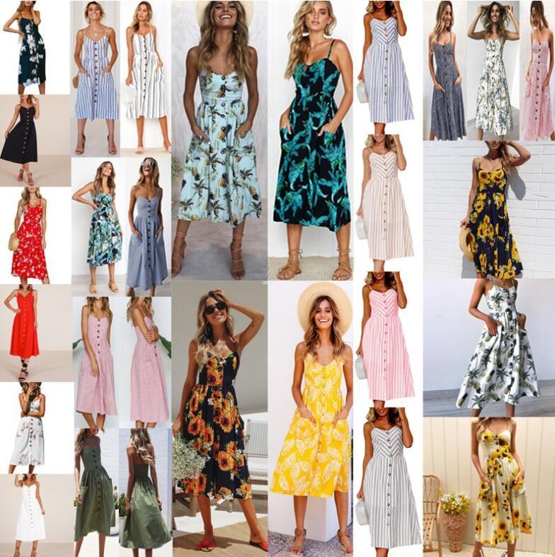 Sexy women Summer Beach Dresses Floral Print Button Party Midi Dresses Beach flower Bohemian Dress KKA5124