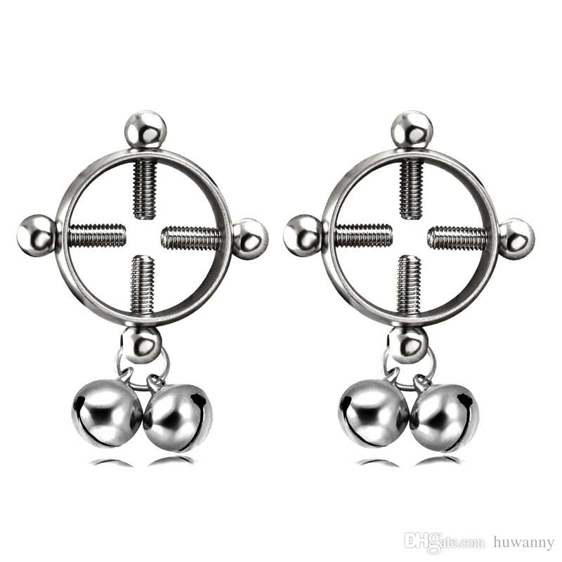 Sexy Nipple Rings 316L Stainless Steel Bell Screw-shaped Adjustable Round Fake Breast Ring Fun Body Piercing Jewelry Wholesale 0873WH