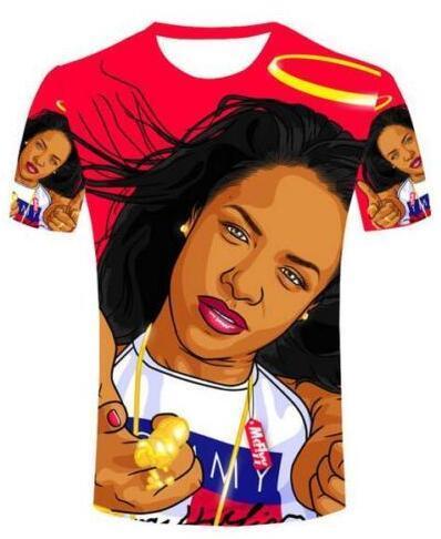 New Fashion Coppie Uomini / Donne Unisex Aaliyah Divertente 3D Stampa Senza cappuccio Casual Maglietta Tee Top all'ingrosso QW76