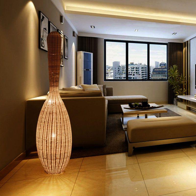 Lâmpadas estilo japonês Bowling Bamboo Floor Lamp Preto iluminação Pavimento Madeira Para Viver Sala de estudo Home Decor Lighting
