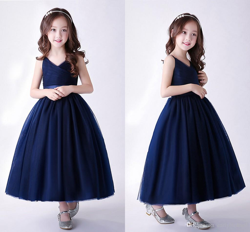 2018 New Arrival Navy Blue Cute Tulle Flower Girls' Dresses With Sash V Neck Zipper Back Tea Length Girls Pageant Gowns MC1606