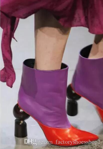 2018 donne sexy stivaletti strani stivali tacco donne pattini del partito punto di punta di colore della miscela stivaletti tacco sottile stivaletti di pelle patchwork