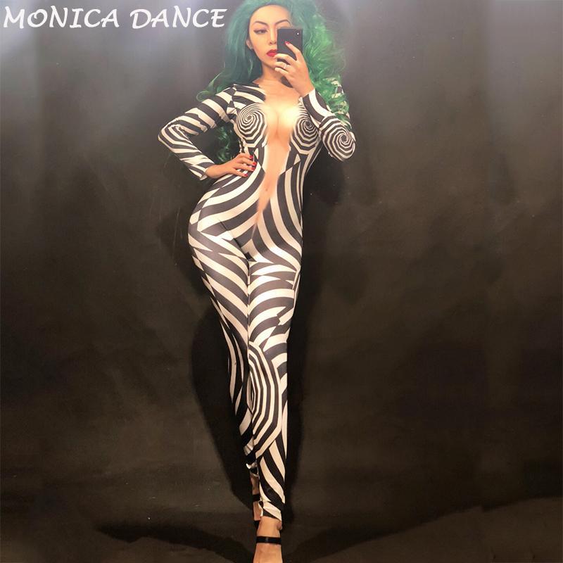 Women Sexy Stage Nightclub DjDs Jumpsuit 3D Printed Zebra Pattern Bodysuit Nightclub Party Celebrate Dancer Singer Stage Wear