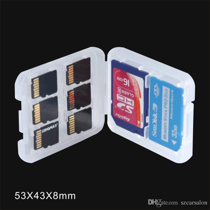 caixa branca Titular caixa de memória multifunções caixa de plástico armazenamento caso para TF cartão micro SD SD / SDHC / SDXC / MMC / MSPD / MS