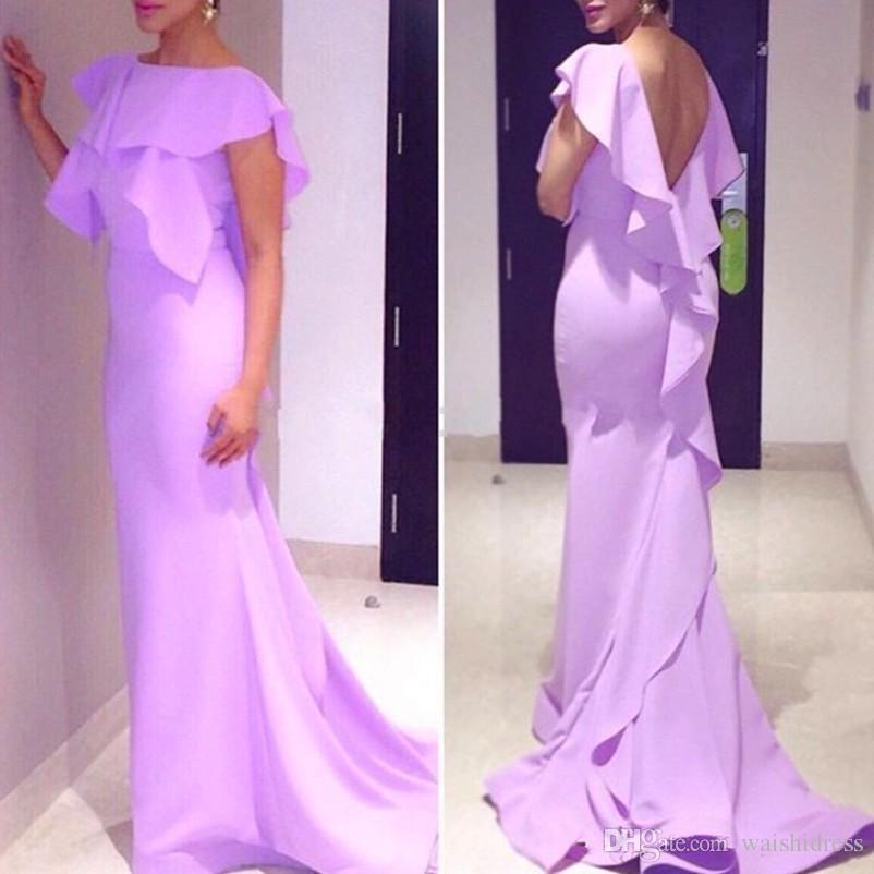 Abiti da sera in chiffon d'estate viola chiaro Sweep Train Mermaid Backless Prom Dress Abiti convenzionali economici