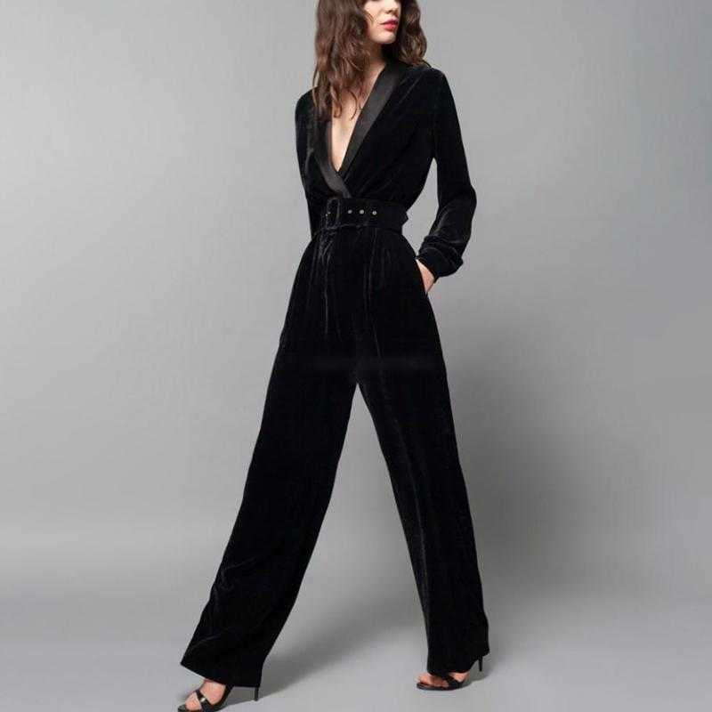 2020 Twotwinstyle Autumn Velour Jumpsuit For Women V Neck Long Sleeve High Waist Wide Leg Pants Trouser Fashion Vintage New 2018 From Afashions 117 32 Dhgate Com