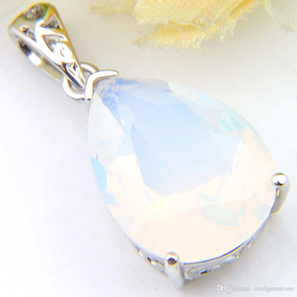 Luckyshine Europe Popular Jewelry Water Drop White Moonstone Gems Silver Necklaces USA Israel Wedding Engagement Necklaces Pendant + Chain