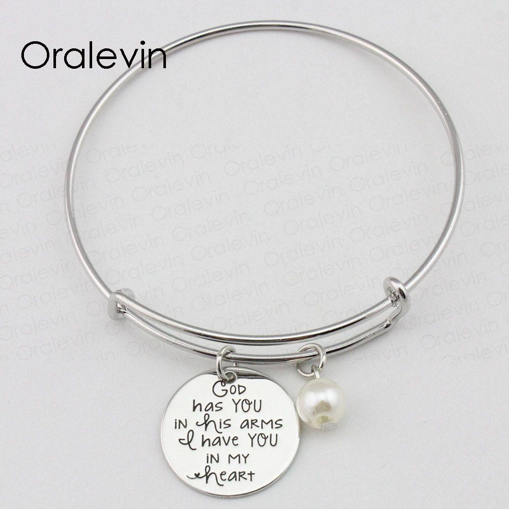 DIEU VOUS AVEZ DANS SON BRAS VOUS AVEZ DANS MON CŒUR inspiré à la main estampillé gravé pendentif bracelet bracelet bijoux faits à la main, 10pcs / lot, # LN2364B