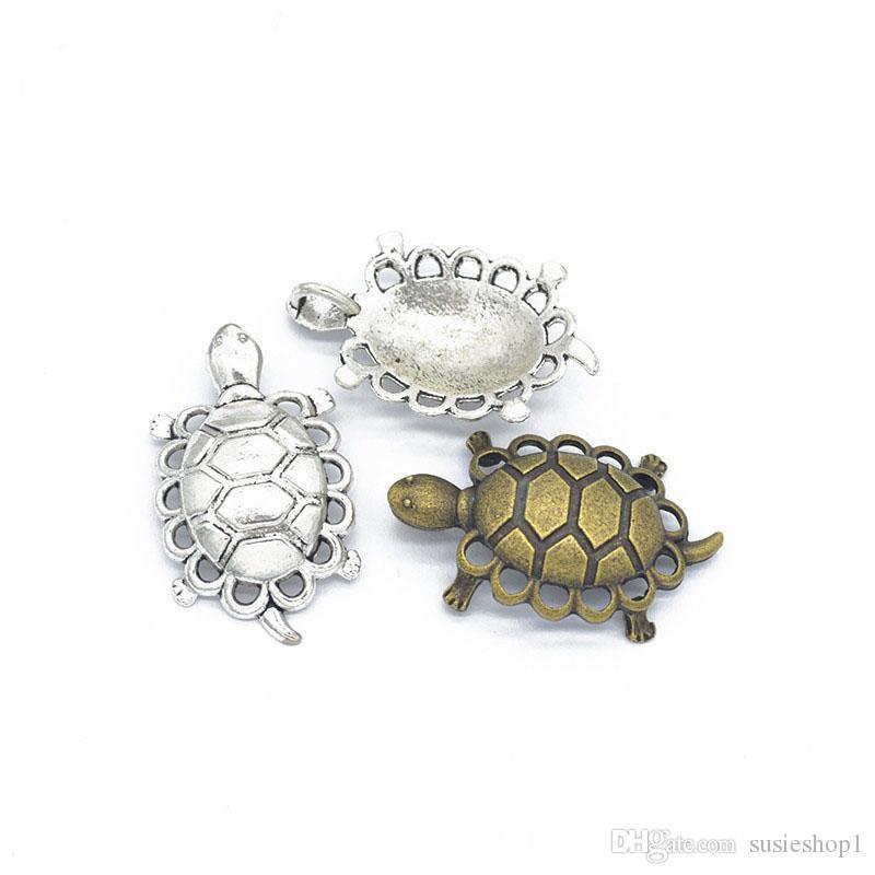 Bulk 100 sztuk Charms Tortoise Wisiorek 39 * 25mm Dobry dla DIY Craft, Tworzenie biżuterii, Antique Srebrny Brąz
