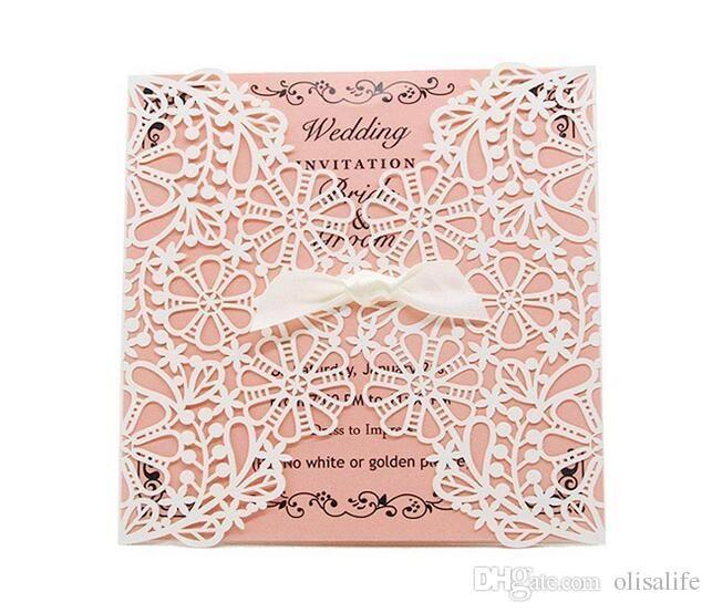 New Fashion Affordable Laser Cut Pocket Wedding Invitation Suites Custom Inner Sheet with Envelope Wedding Blank Inner Invitations Custom