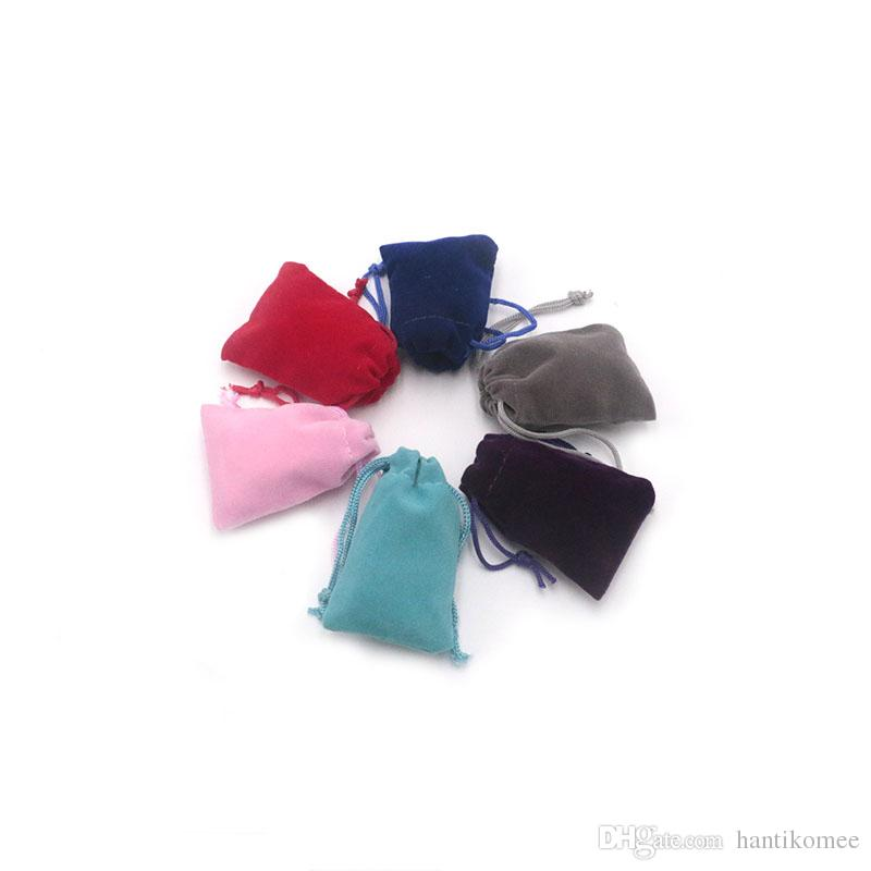 200pcs 5 10colors imprimir o logotipo * 7cm saco de veludo Atacado Popular Embalagem de joalharia de Natal presente de casamento Saco dos doces pode customed para escolher