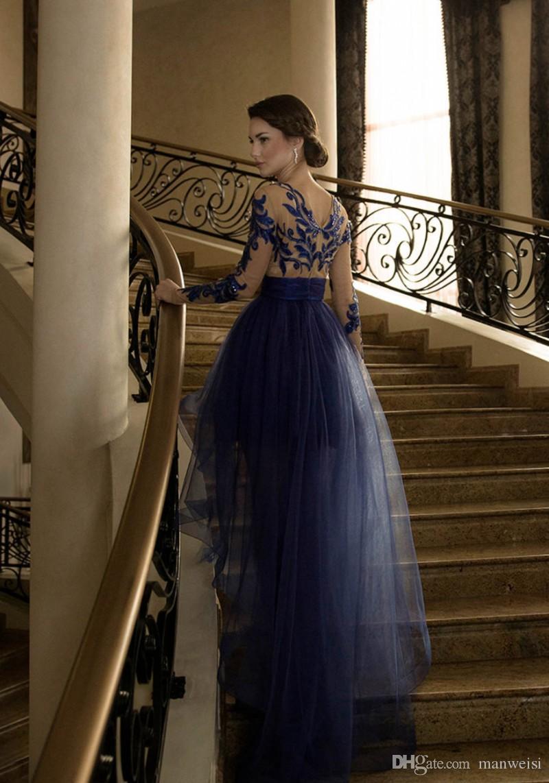 Großhandel Sexy Blau High Low Prom Kleider Mit Langen Ärmeln Spitze ...