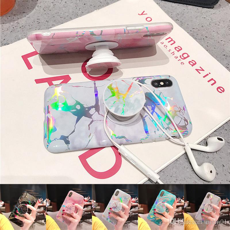 Bling Laser Shining Marble Iridescent Holographic Holo Soft TPU Grip Stand Custodia per iPhone X 8 7 6 6S Samsung S8 S9 Plus Nota 9 Nota9