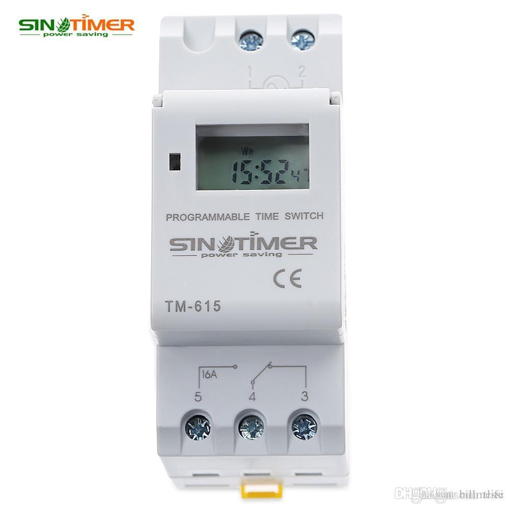 SINOTIMER 브랜드 마이크로 컴퓨터 전자식 디지털 타이머 스위치 시간 계전기 제어 110 / 220V AC 16A DIN 레일 장착형 HOT + TB